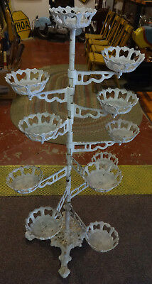 Fancy Antique Decorative Cast Iron Plant Stand w/11 Plant Holders NICE!