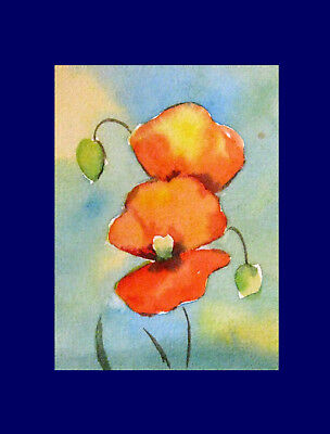 """Poppies  Flowers ACEO ORIGINAL Watercolor Vintage Painting  2.5"""" x 3.5 """""""