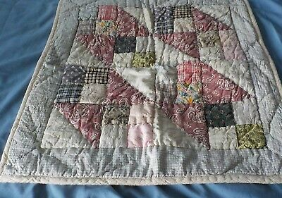 "Vintage cotton blend scrap small quilt 18"" x 17"" hand quilted"