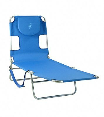 Enjoyable Lounge Ostrich Chaise Folding Beach Chair Pool Patio Blue Gamerscity Chair Design For Home Gamerscityorg