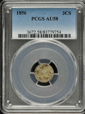 1856 3CS Three Cent Silver PCGS AU58