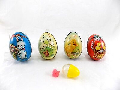 (4) Vintage (2 Murry Allen) Tin Easter Candy Eggs Plus one Plastic