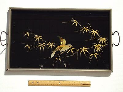 Antique VTG Reverse Painted Glass Tray GOLD BIRD w/ SHELL INLAY Made In Germany