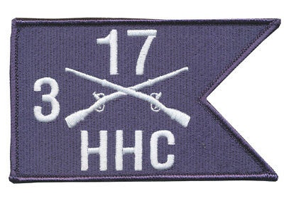 """5"""" X 3"""" HHC Company, 3rd Battalion, 17th Infantry Reg Hook & Loop Guidon Patch"""