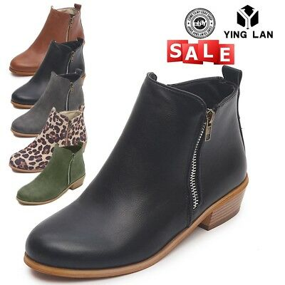 Womens Booties Low Heels Ankle Boots Round Toe Zip Up Casual Shoes Size 5.5-10.5