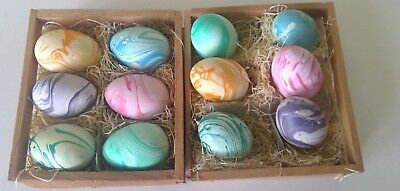 Lot of  12 Vintage 70s-80s Hand Painted Ceramic Easter Eggs
