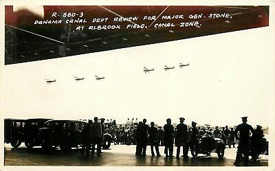 Department Review For Major Gen Stone, Albrook Field Real Photo Postcard