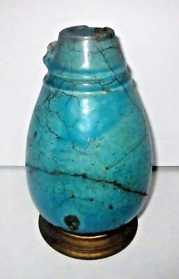 Ancient Egyptian Faience Vessel Turquoise Blue Glazed Pottery Vase Ewer Relic
