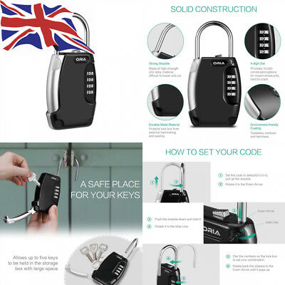 Oria Key Safe, Secure Storage, Lock Box Outdoor with Shackle, Heavy Duty...