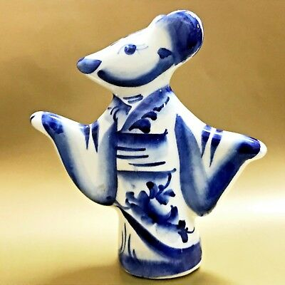 Rat figurine porcelain Mouse in kimono Souvenirs from Russia art