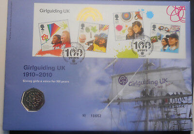 United Kingdom 2010 Girlguiding   PNC with 50p  Coin