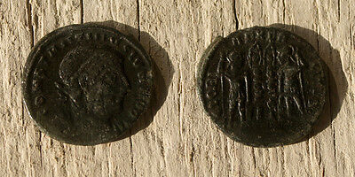 Constantine II as Caesar - Gloria Execitus - Ancient Roman AE3 Follis