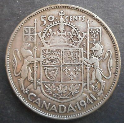 Canada  1941  George VI   50 cent Silver Coin Nice