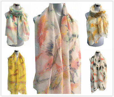 Women Ladies Long Pretty Two Tone Feather Pattern Print Shawl Scarf Scarf Stole