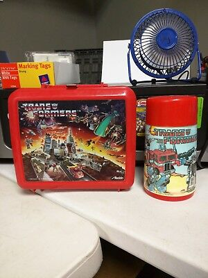 Vintage Transformers Red Plastic Lunchbox With Thermos 1986 Aladdin