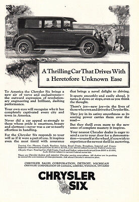 1925 Chrysler Six: Thrilling Car That Drives Vintage Print Ad