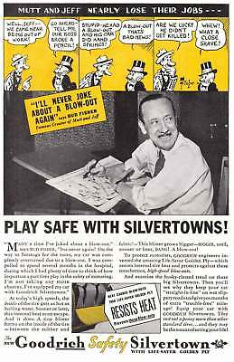 1935 Goodrich Silvertown Tires: Bud Fisher, Mutt and Jeff Vintage Print Ad