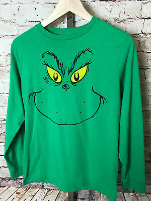 Dr Seuss Grinch Face Christmas T-Shirt Shirt Holiday Tee Green Long Sleeved