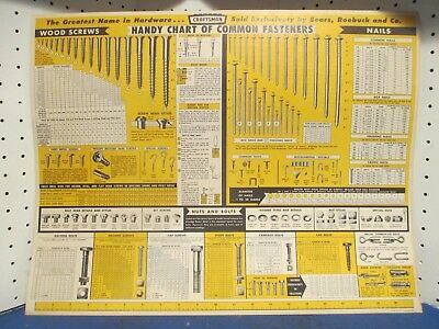 Vintage Old Original Sears Craftsman 1959 Wall Chart Common Fasteners Poster