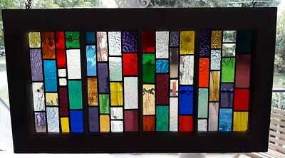"""St Glass in old window frame. Lots of colors 28"""" x 16"""""""