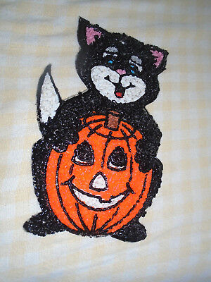 Vintage Halloween Decoration-Cat with Pumpkin-Melted Plastic Popcorn
