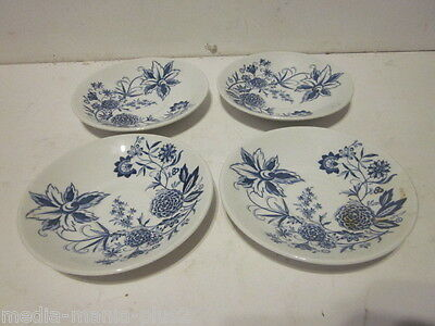 4 Vintage Barker Bros Blue Transferware Cathay Pattern Saucers Lot #1