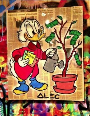 Alec-Monopoly  Hand-Painted Oil Painting art graffiti canvas Tree 24x36