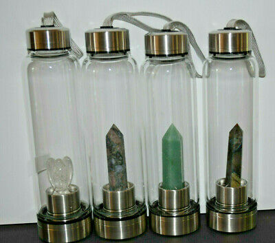 Crystal infused glass water bottles drink bottle Crystals Angels points AUS