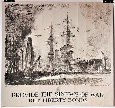 "WW1 Ship Launching! ""Provide The Sinews Of War"" Buy Liberty Bonds! By J. Pennell"