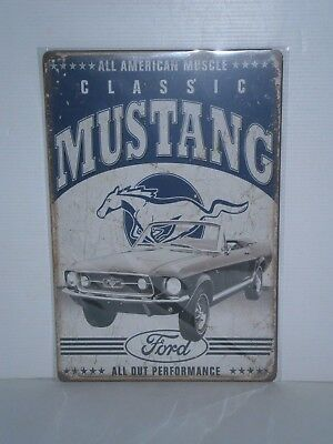 FMS1 Classic Ford Mustang Metal Sign 30 cm h x 20 cm w