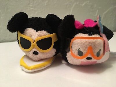 "Disney TSUM TSUM MICKEY & MINNIE HAWAII City Exclusive Mini 3.5"" Plush NO BOX"