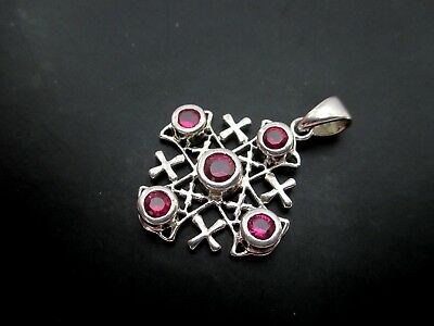 LARGE ANCIENT STERLING SILVER JERUSALEM CRUSADERS CROSS WITH 5 RED STONES 6.5 g