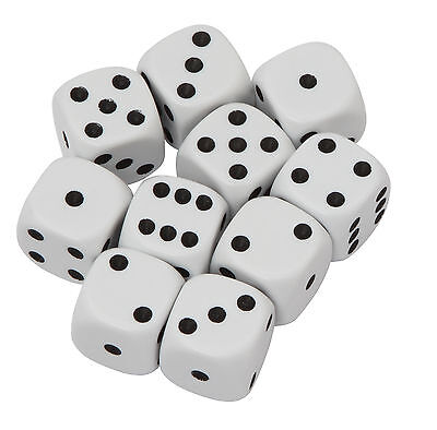 Pack of 10 dice.  White spotted 16mm dice