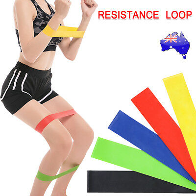 Resistance Bands for Exercise Men and Women Legs Arms Booty Yoga Physio AU STOCK