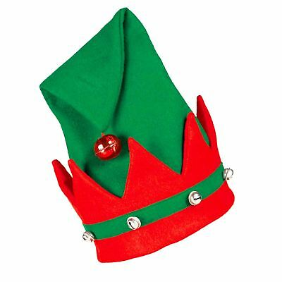 Adults Santa's Elf Hat with Bells, Christmas Red Green Fancy Dress Accessory
