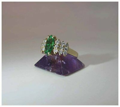 Vintage 14K Gold Chrome Diopside And Diamond Cocktail Ring