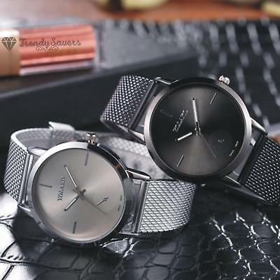 Luxury Unisex High Hardness Glass Mirror Men And Women Quartz Mesh Wrist Watch
