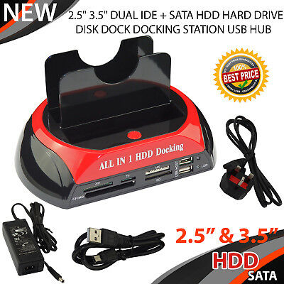 All in 1 HDD Docking Station IDE SATA Dual Hard Drive Dock USB HUB +Card Reader