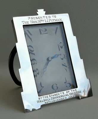 Vintage 1930 Art Deco Odeon Solid Silver Cased Easel Desk Clock French Movement