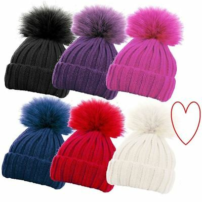 Girls Ribbed Hat Chunky Winter Detachable Bobble Beanie