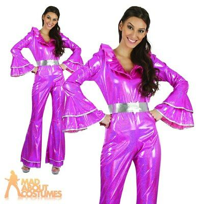Adult Ladies Disco Jumpsuit 1970s Abba Fancy Dress Costume Womens Outfit