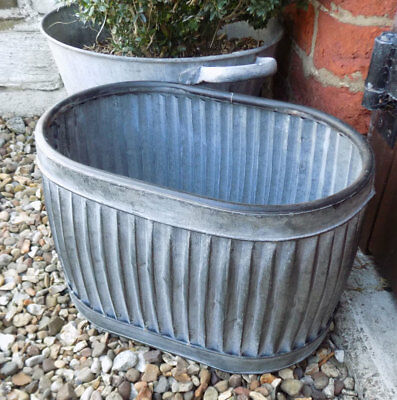 Small vintage style galvanised metal grey oval dolly tub garden planter pot