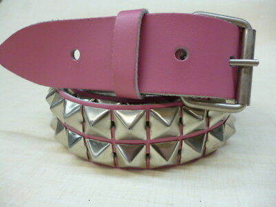 Real Leather Belt 38mm H2a White Gothic Vintage Punk 2 Row Pyramid Studded