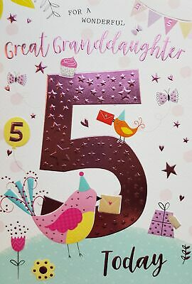 For A Wonderful Great Granddaughter 5th Birthday Card