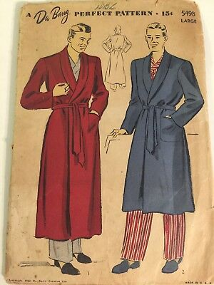 Vintage Du Barry Mens Sewing Pattern Lounging Tone 1942 Size Large