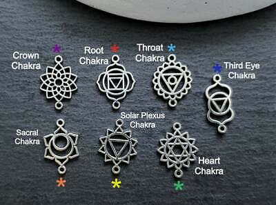 Small Chakra Charm Earring Connectors - Antique Silver - Sacred Geometry Yoga