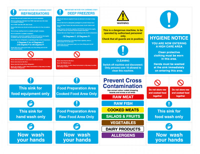 Catering Kitchen Safety Signs Self Adhesive Food Safety Notices - Pack of 12