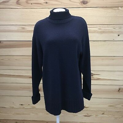 d34c2fcdc8 Express Womens Sweater Large Navy Blue Turtleneck Long Tricot Cuff Sleeves  B80