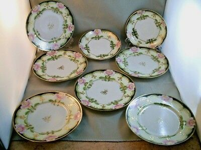 Antique Nippon I&E Saucers & Sandwich Plates (8 pcs Total) Japan (Rare Set)