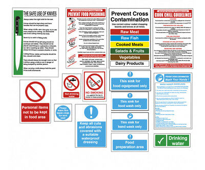 Catering Kitchen Safety Signs Self Adhesive Food Safety Notices - Pack of 15